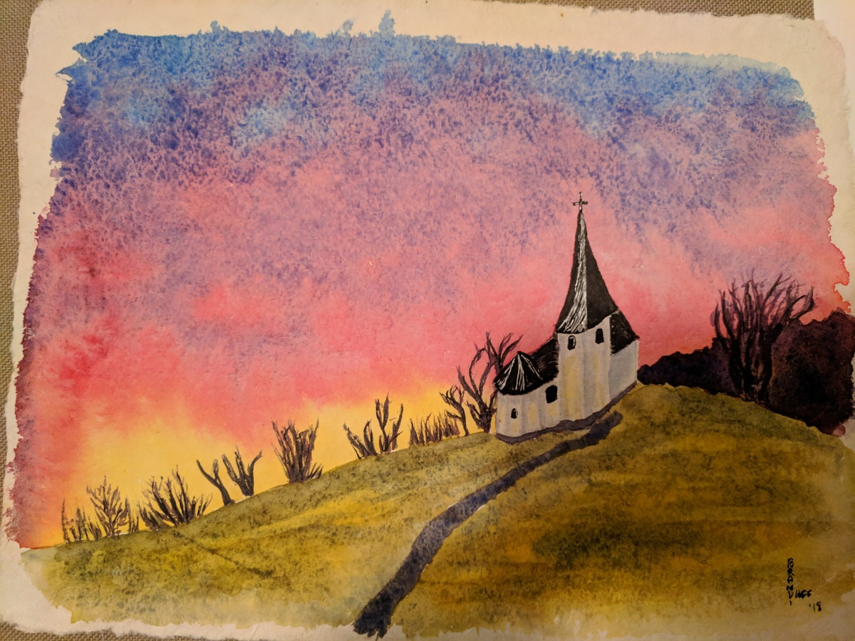 Watercolor Church with Sunset